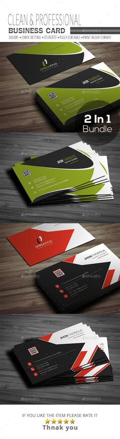 Business Card Bundle 2 In 1 - #Corporate #Business #Cards Download here: https://graphicriver.net/item/business-card-bundle-2-in-1/19478318?ref=alena994