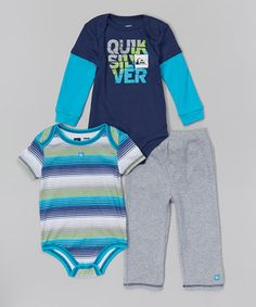 Another great find on #zulily! Quiksilver Navy & Teal Stripe Bodysuit Set - Infant by Quiksilver #zulilyfinds