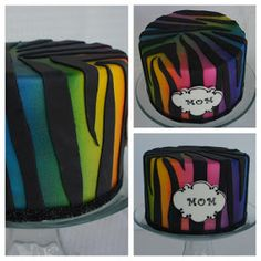Montreal Confections: Rainbow effect and zebra print on a fondant cake