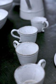 Astier de Villate mugs - perfect imperfection Ceramic Tableware, Ceramic Art, Kitchenware, Dish Cabinet, White Table Top, Shaker Furniture, Pottery Sculpture, Tea Cups, Coffee Cups