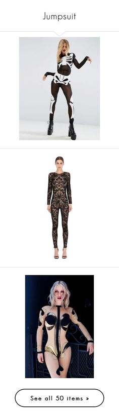 """""""Jumpsuit"""" by natgnat ❤ liked on Polyvore featuring costumes, black, xray costume, sequin costume, asos, skeleton costume, skeleton halloween costume, tops, sleeveless tops and stretch top"""