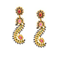 Sensual Snake Dance Diamonds, Emeralds and Pink Tourmaline Earrings