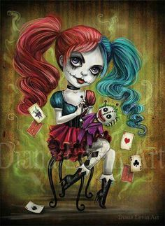 Last Laugh by Ghoulish Bunny Studios (Diana Levin) , Harley Quinn with voodoo Joker doll Harley Quinn Tattoo, Harley Quinn Drawing, Harley Quinn Cosplay, Joker And Harley Quinn, Arte Tim Burton, Princesas Disney Zombie, Voodoo Doll Tattoo, Voodoo Dolls, Deco Cinema