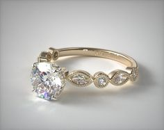 Round and Marquise Shape Diamond Engagement Ring | 18K Yellow Gold | 17082Y - Mobile