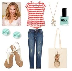 Easy summer outfit: striped tee + distressed jeans. #style