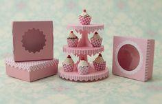 Miniature Dessert Tower Kit: Pink Stripe. $8.00, via Etsy.