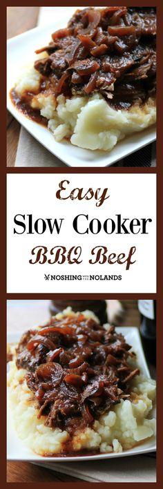 MWM Easy Slow Cooker BBQ Beef by Noshing With The Nolands has only three ingredients and couldn't be easier!