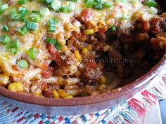 Ground Beef Casserole--This is a winner! Just remember to cut back the red pepper flakes and pump up the cheese!