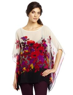 Chaus Women's Cascading Garden Panel Blouse, Rich Crimson, Small « Fashion! @ Sag0.com