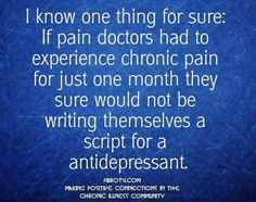 OR telling me I don't need drugs that I'll get addicted to. Severe chronic intractable pain.