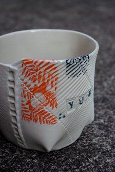 hand built, slab constructed porcelain bowl, tissue transfer 2012. Ceramic, porcelain, stoneware