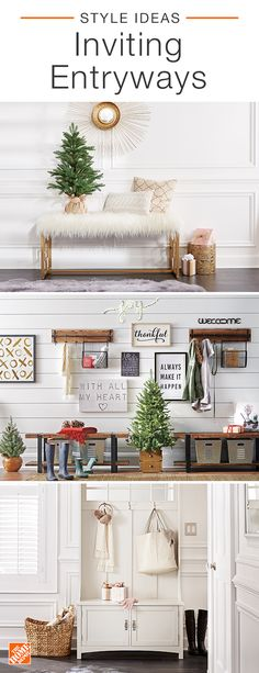 Get through the busy holiday season by designing your entryway with purpose. Find storage that's not only fashionable, but works with your daily routine. Choose from a rustic-chic coat rack or an elegant open hall tree to help get you ready and out the do Decor, House Design, Classic Christmas Decorations, Home Projects, Farmhouse Decor, Bedroom Design, Entryway Decor, Home Decor, Holiday Entryway