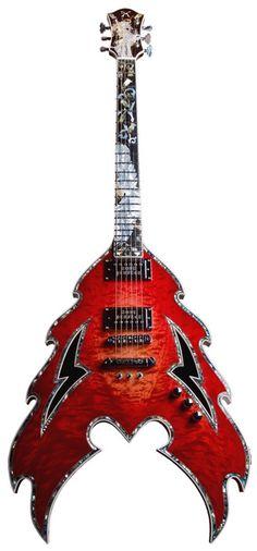 Un design flamboyant rouge.Retrouvez des cours de #guitare d'un nouveau genre sur https://www.mymusicteacher.fr !