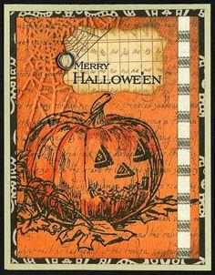 "Merry Hallowee'n Jack-o-Lantern ~ 4.25"" x 5.5"" card | via A Nostalgic Halloween @ Blogspot"