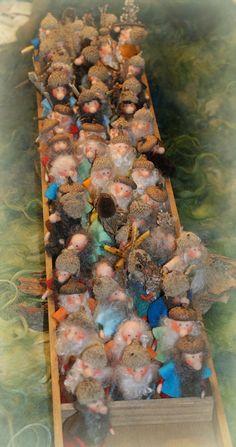 needle felted Acorn Gnomes