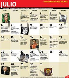 Te presentamos las conmemoraciones más importantes para el mes de julio. ¡Conócelas! #Infographic