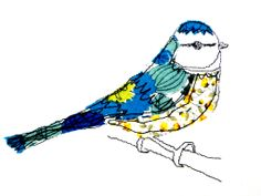 Free-machine embroidered Blue Tit by Wildgoose Designs