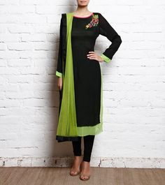 Black Embroidered Crepe Churidar Suit