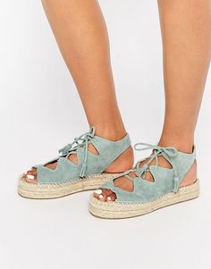 Image 1 of Faith Jagged Teal Ghillie Lace Up Espadrille Flatform Sandals