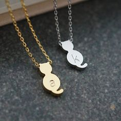 Personalized Kitty Cat Necklace initial Necklace by earringsnation: G in silver & M in gold