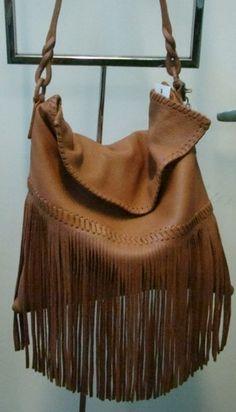 Carlos Falchi Leather Fringe Handbag