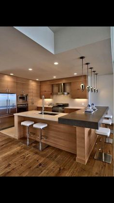 A Big Kitchen interior design will not be hard with our clever tips and design i. CLICK Image for full details A Big Kitchen interior design will not be hard with our clever tips and design ideas. More kitchen and other. Luxury Kitchens, Cool Kitchens, Modern Kitchens, Kitchen Modern, Minimal Kitchen, Beautiful Kitchens, Modern Kitchen Designs, Functional Kitchen, Stylish Kitchen