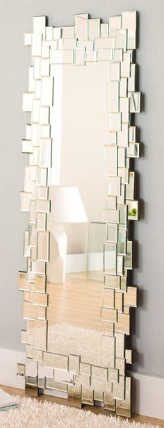DIY Frame an inexpensive mirror with small mirrors // modern DIY mirror tile floor length mirror!