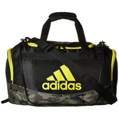 adidas Defender II Small Duffel (Black/Cab Camo/Shock Yellow) Duffel... ($29) ❤ liked on Polyvore featuring bags, luggage and black