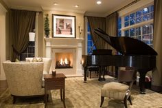 Here'S a nice example of how to place a grand piano in a room. this cozy room with a fireplace looks perfect with a grand piano included. Piano Living Rooms, Formal Living Rooms, Living Room Furniture, Living Room Decor, Piano Room Decor, Deco Furniture, Furniture Layout, Paint Furniture, Dining Room