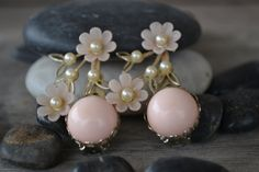 Unique Floral Clip on Earrings 1950's by BitsofthePast on Etsy, $12.00