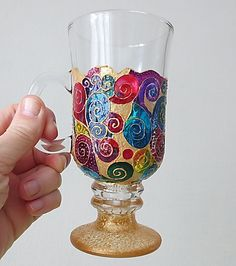 Hand Painted Irish Coffee Glass with Spirals/Gift for by LamPamPam