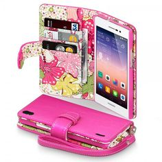 Hot Pink PU Leather Wallet Case for Huawei Ascend P7