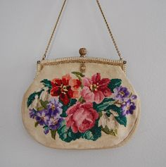Old needlepoint floral purse