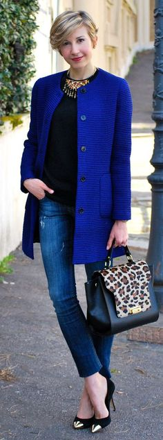 Zara Blue Cobalt Collarless Coat-Love the coat with the handbag & shoes!
