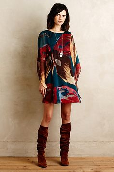 Lorikeet Silk Tunic Dress #anthropologie would love with leggings