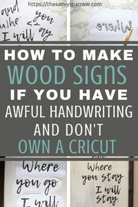 Cheap and Easy DIY Farmhouse Wood Signs - A Step-by-Step DIY Tutorial! - - Want to learn how to make easy DIY farmhouse wood signs? Get my tutorial and learn the cheapest and easiest way to make farmhouse signs without stencils! Diy Wood Signs, Rustic Wood Signs, Pallet Signs, Pallet Boards, Pallet Wood, Mason Jar Crafts, Mason Jar Diy, Bottle Crafts, Woodworking For Kids