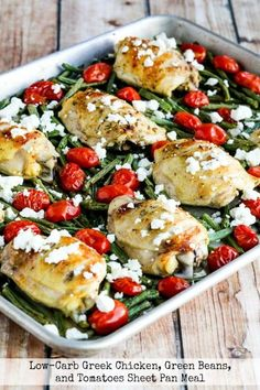 Low-Carb Greek Chicken, Green Beans, and Tomatoes Sheet Pan Meal on KalynsKitchen.com