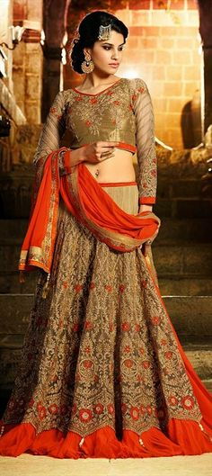 BRIDAL WEAR - launching #lehenga with lace and stone work. Order at flat 10% off + free shipping worldwide.  #wedding #bride #indianwedding #indianfashion #neonorange #floral #onlineshopping