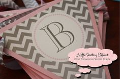 The Annabelle Collection - Gray Chevron and Pink Babyshower Banner with Gray Chevron and Pink Ribbon on Etsy, $20.00