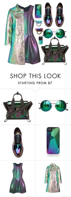 """""""Purple and Green Holographic"""" by julesdiaries ❤ liked on Polyvore featuring moda, 3.1 Phillip Lim, Chicnova Fashion, Dr. Martens, Marc by Marc Jacobs, Cynthia Rowley, metallic e holographic"""