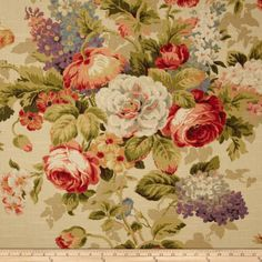 Lismore Garden 545 Mineral cotton floral print on slubby duck. Covington Fabric for professional decorating. Vintage Floral Fabric, Vintage Textiles, Fabric Shower Curtains, Drapery Fabric, Bedroom Curtains, Chair Fabric, Window Curtains, Covington Fabric, Chintz Fabric