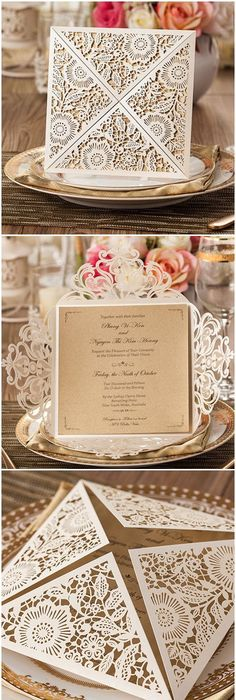 delicate metallic chic rustic and vintage laser cut wedding invitations