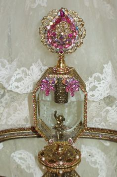 Antique Bejeweled Perfume Bottle 8 By Debbie Del Rosario-Weiss, Juliana,brush, comb, vintage, Clock,tray, mirror, perfume, antique, vintage, victorian, Sparkle,