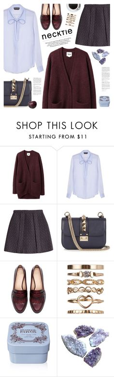 """fall trend: necktie blouse"" by jesuisunlapin ❤ liked on Polyvore featuring Acne Studios, Rochas, Carven, Valentino, Zara, River Island and Henri Bendel"