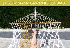 Here are some stylish hammocks you can make yourself, plus a few DIY swings for the kids (or kids-at-heart), too!   /////  9 DIY Outdoor Swing and Hammock Projects » Curbly  DIY Design Community