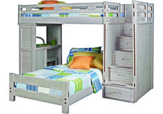 Creekside Stone Wash Twin Twin Step Bunk Bed with Desk x x Find affordable Bunk Beds for your home that will complement the rest of your furniture. Toddler Bunk Beds, Girls Bunk Beds, White Bunk Beds, Modern Bunk Beds, Kid Beds, Bunk Bed With Desk, Bunk Beds With Stairs, Bedroom Furniture Stores, Bed Furniture