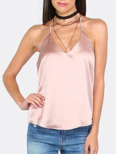 Pink v neck backless cami top blusas de seda, blusas sin mangas, blusas camisas Dope Fashion, Fashion 2017, Fashion Outfits, Womens Fashion, Style Fashion, Moda Dope, Satin Slip, Lauren, Cami Tops