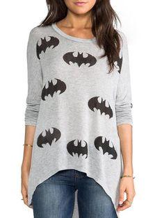 Stylish Scoop Neck Long Sleeve Bat Pattern Loose-Fitting Women's T-Shirt