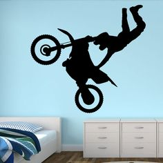 Motorbike Jump - Vivid Wall Decals. Removable vinyl wall art decals. Cool teenage boys bedroom. Dirt bike, crusty demons.