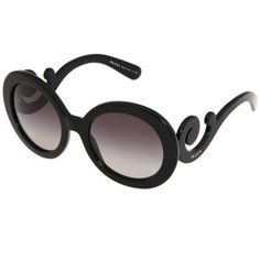 Prada Women's PR 27NS Black Minimal-baroque Round Sunglasses - Free Shipping Today - Overstock.com - 15483847 - Mobile